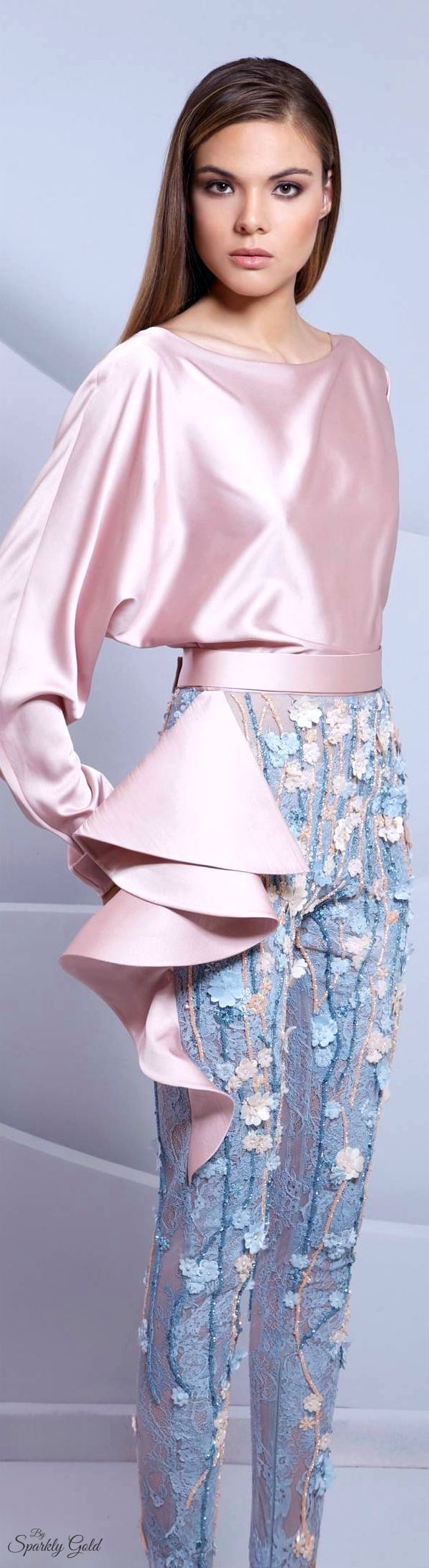 Rose Quartz and Serenity blue by Tarek Sinno - Spring/Summer 2015 - soft, pastel palette and styling. The pants are brilliant.