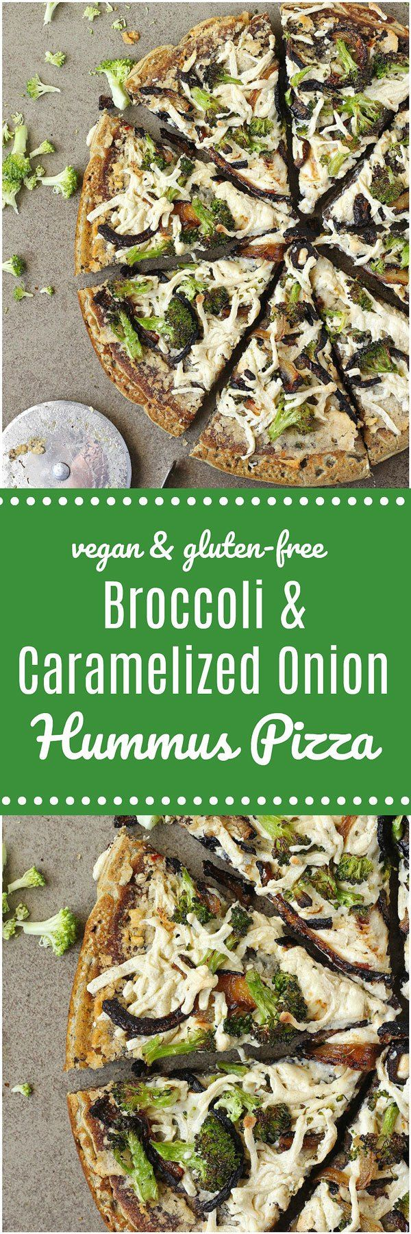 Broccoli and Caramelized Onion Hummus Pizza - This Broccoli and Caramelized Onion Hummus Pizza is 100% vegan and gluten-free! Steamed broccoli, caramelized onions and hummus is laid on top of a simple homemade lentil pizza crust before being sprinkled with dairy-free cheese. I would use edens canned beans because they are already pressure cooked for low Lectin