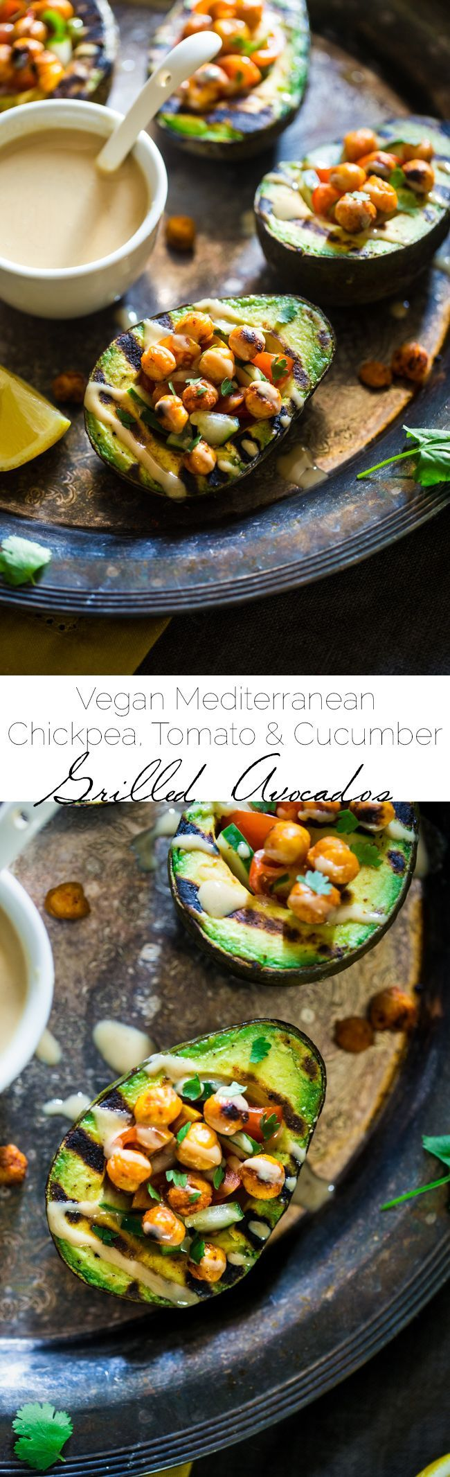 Vegan Mediterranean Chickpea Stuffed Grilled Avocado - Grilled avocado is stuffed with fresh cucumber, tomato and crispy grilled chickpeas! A drizzle of tahini makes this a delicious, healthy and easy, vegan dinner for under 250 calories! | Foodfaithfitness.com | @FoodFaithFit