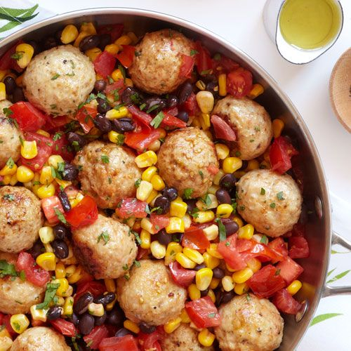 The colorful and hearty Southwest Meatball Skillet blends black beans, corn, tomatoes, lime and cilantro for a 20-minutes supper served warm!