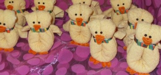 Patitos de toalla como souvenirs de baby shower ...