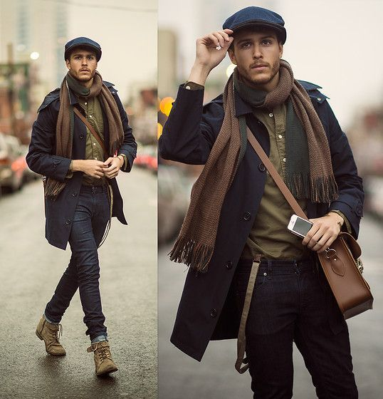 Choose a navy trenchcoat and black skinny jeans to create a dressy but not too dressy look. Tap into some David Gandy dapperness and complete your look with olive suede boots.  Shop this look for $474:  http://lookastic.com/men/looks/messenger-bag-flat-cap-scarf-longsleeve-shirt-trenchcoat-suspenders-skinny-jeans-boots/4753  — Brown Leather Messenger Bag  — Navy Flat Cap  — Brown Scarf  — Olive Longsleeve Shirt  — Navy Trenchcoat  — Brown Suspenders  — Black Skinny Jeans  — Olive Suede Boots…