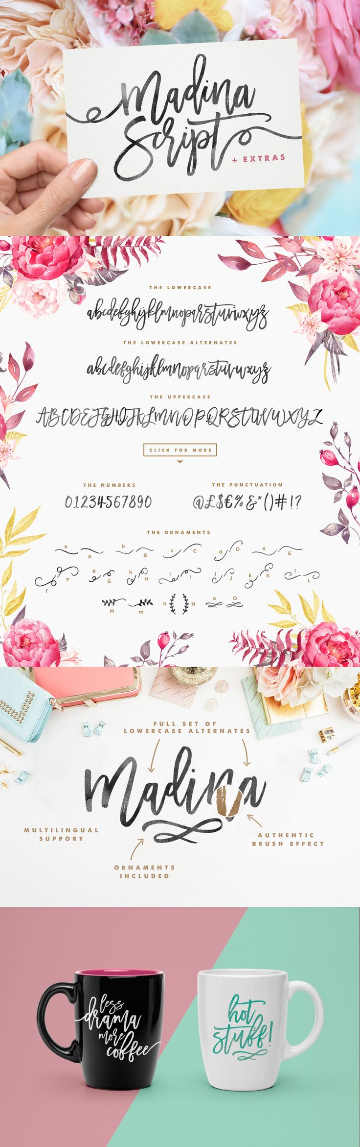 Madina Script is a fabulously fun yet elegant script font with tons of energy, allowing you to create beautiful hand-made typography in an instant.