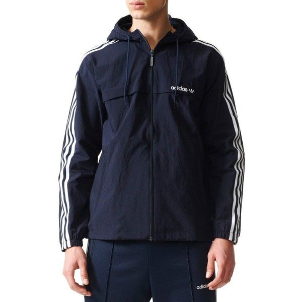 Men's Adidas 3-Stripe Hooded Windbreaker ($90) ❤ liked on Polyvore featuring men's fashion, men's clothing, men's activewear and men's activewear jackets