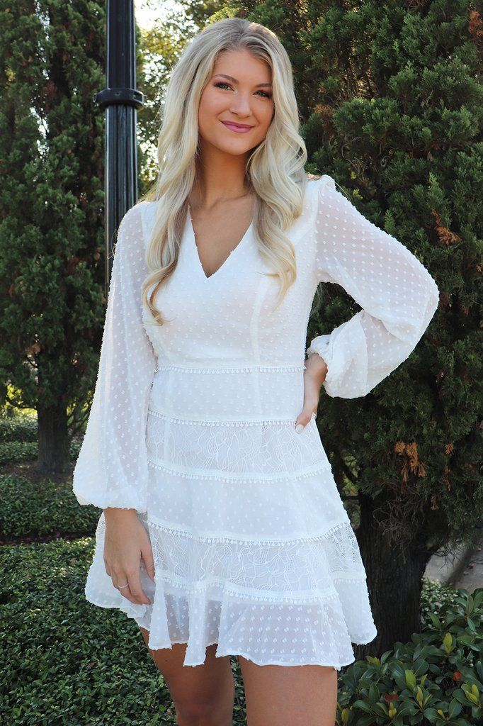 Garden Party White Long Sleeve Dress White Long Sleeve Dress Rehearsal Dinner Outfits Bride Clothes