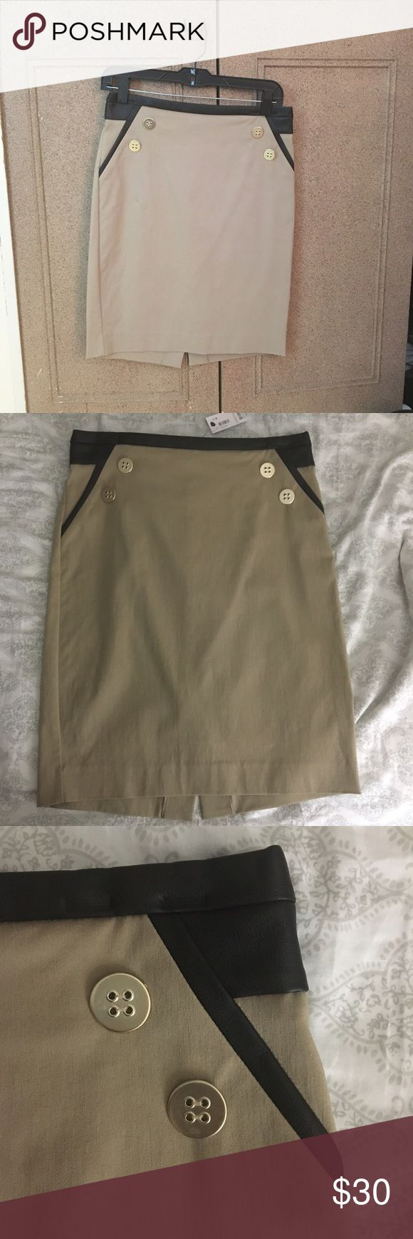 The Limited Pencil Skirt Tan pencil skirt with faux leather trim. Never worn. The Limited Skirts Pencil