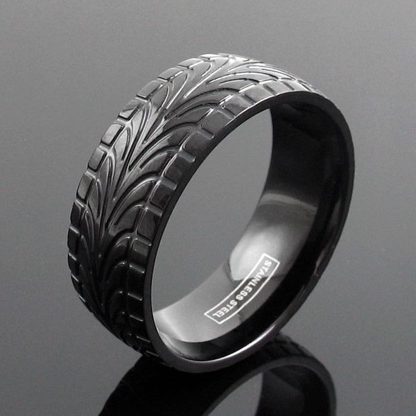 Black Stainless Steel Men's Tire Track Wedding Band Ring Size 9-13  | eBay