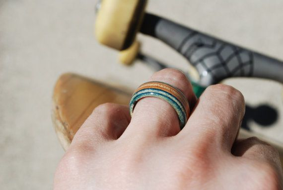 Grab one of our rings made from recycled skateboard decks!