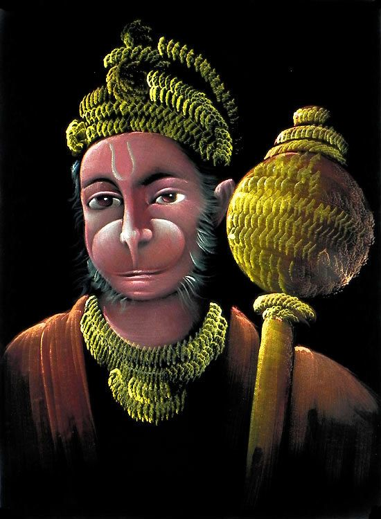 Hanuman - Great Devotee of Lord  Rama (Painting on Velvet Cloth - Unframed))