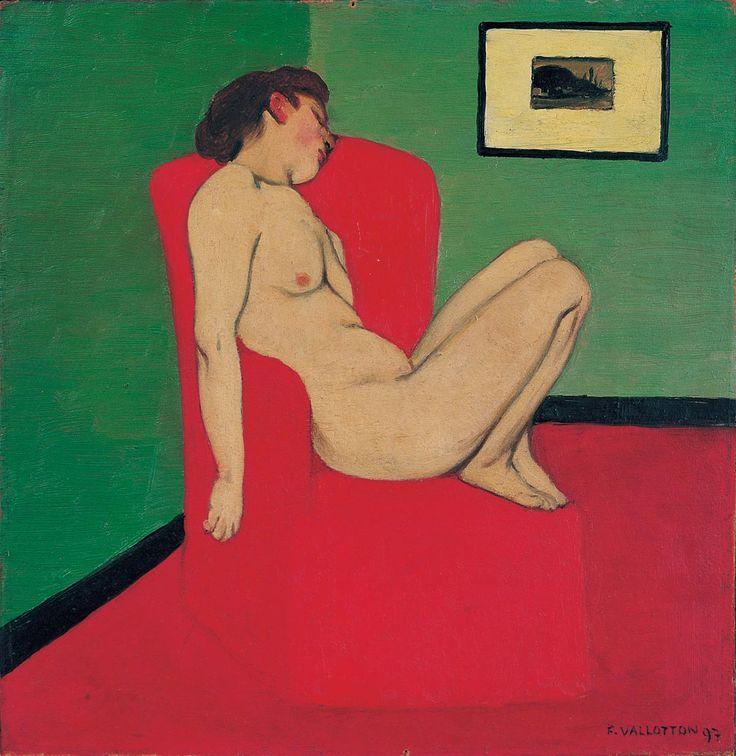 Félix Vallotton, Femme nue assise dans un fauteuil rouge, 1897, huile sur carton marouflé sur contreplaqué, 28 x 28 cm. Grenoble, musée de Grenoble ©