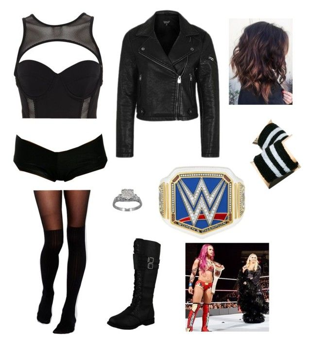 WWE Triple Threat With Sasha & Charlotte by rosemlove on Polyvore featuring Topshop, Pacha, ASOS, Dogpile and WWE