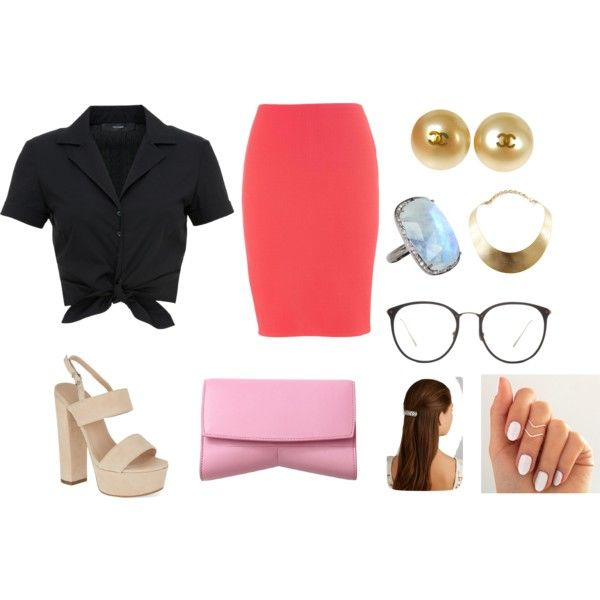 beauty by madamblue25 on Polyvore featuring polyvore fashion style Hallhuber maurices Carvela Narciso Rodriguez GUESS ADORNIA Chanel Jennifer Behr Linda Farrow Pink black beautiful shoes