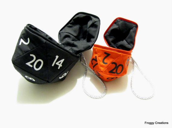 D20 dadi (Large) Custom sacchetto, Dungeons and Dragons, D & D, gamer, moneta geek, tavolo da gioco, giocatore, borsa borsetta, borsa d20