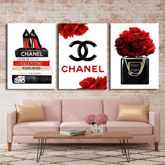 Fashion Wall Art Fashion 3 Set Print Canvas Wall Art Chanel Wall Art Chanel Prints Perfume Prints Sh Chanel Wall Art Fashion Wall Art Canvases Fashion Wall Art