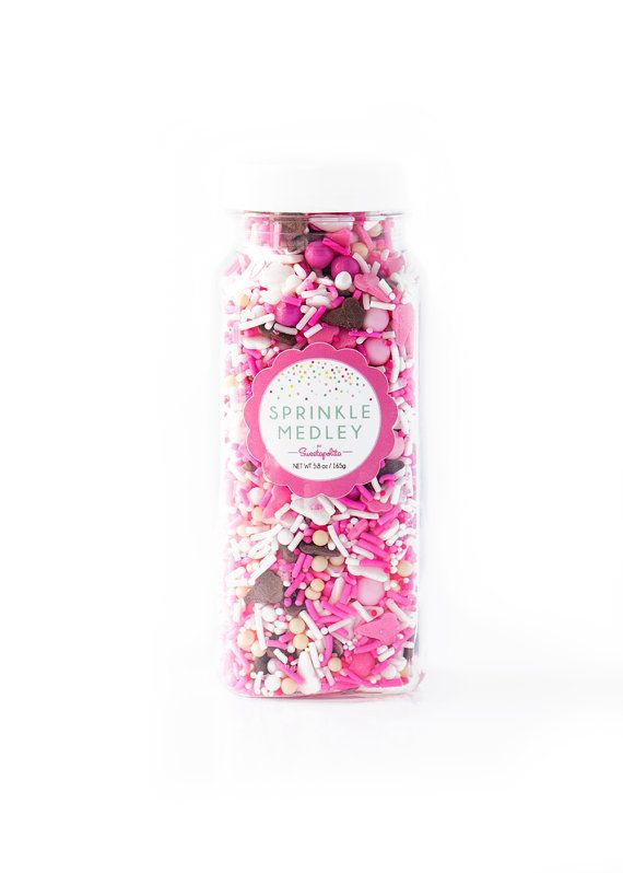 Ice Cream Party Sprinkle Medley is a one of a kind mix of ice cream-colored sprinkles: pink/white strands, candy beads, adorable neapolitan colored