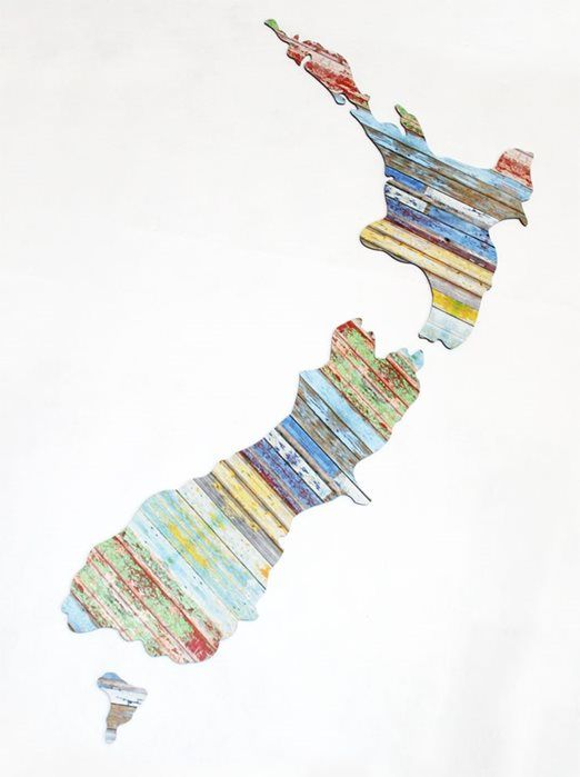nzcanvaslounge - AGED TIMBER NZ MAP - or magazine strips!
