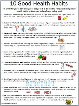 10 health habits health and worksheets