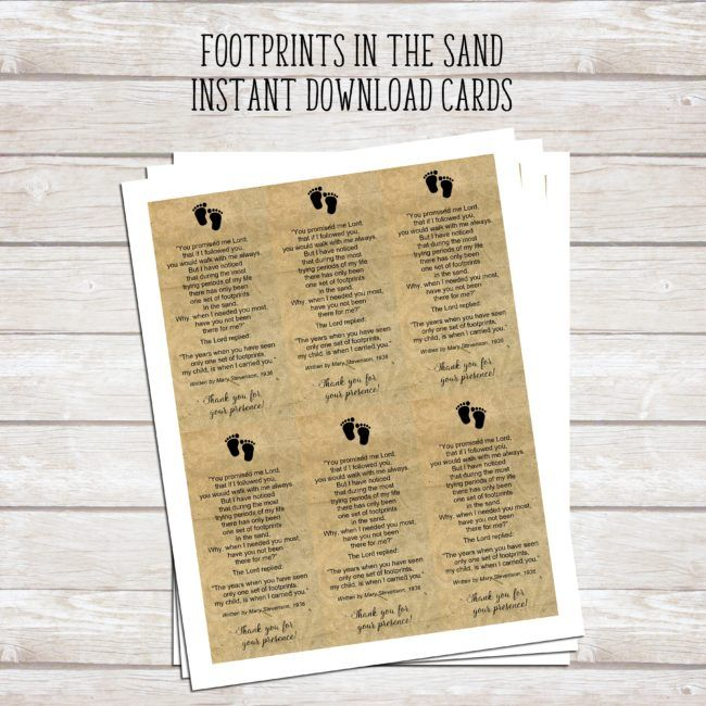 """Footprints in the Sand Printable Poem 
