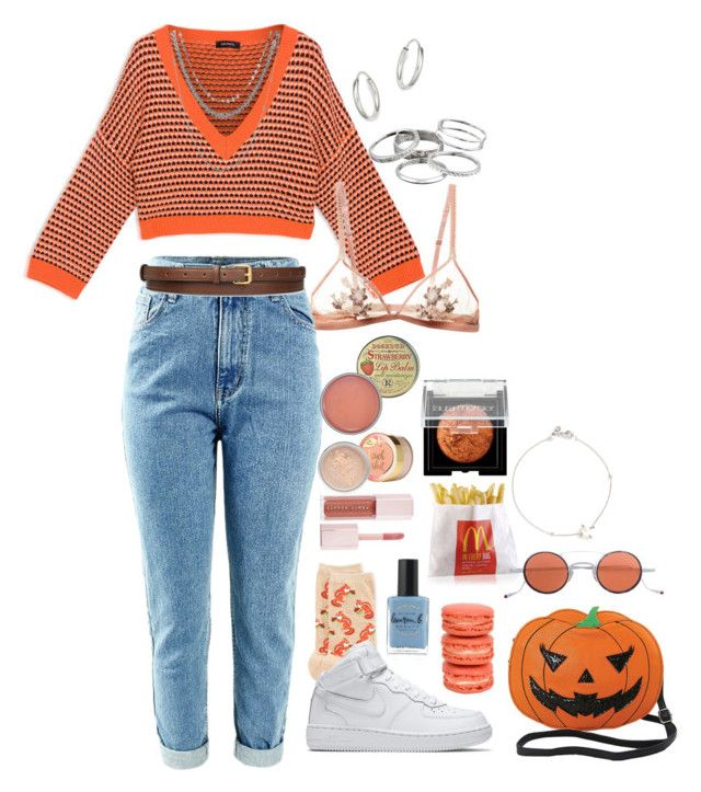 """femjm - orange"" by thereddestred ❤ liked on Polyvore featuring Max&Co., Bloomingdale's, Rosebud Perfume Co., Kendra Scott, HOT SOX, NIKE, Laura Mercier, Puma, Lauren B. Beauty and CO"