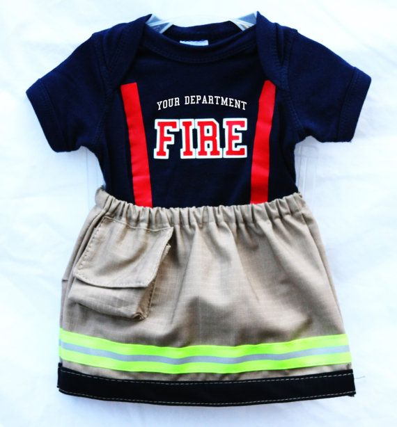 Baby Firefighter Outfit with Skirt Looks Like TAN Turnout Bunker Gear Personalized Department on the Front Great Gift