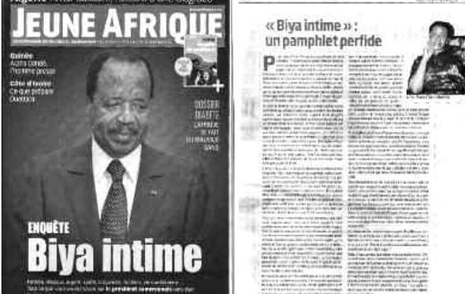 Biya intime: Cameroon Tribune contre Jeune Afrique: Le quotidien gouvernemental ##camerounais a réagi hier avec véhémence au… #Team237