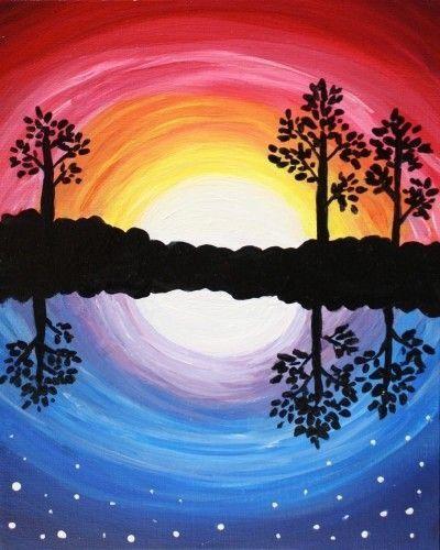 рисунок день и ночь красками самых крутых