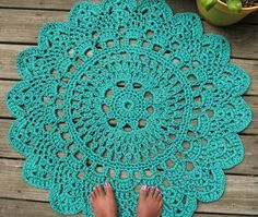 """Turquoise Patio Porch Cord Crochet Rug in 35"""" Round Pineapple Pattern"""