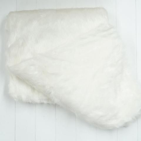Mink White Fur Throw