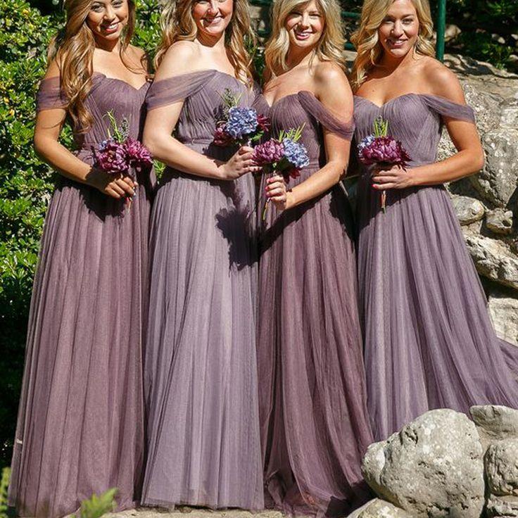Off Shoulder Long A-line Tulle Bridesmaid Dresses, Wedding Guest Dresses, PD0296