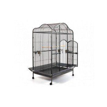 Mooie papegaaienkooi Big Parrot met vele extra's, geschikt voor de grotere papegaaien. Afmeting: 104 x 71x 164 cm netto. Veilige loodvrije poedercoating.