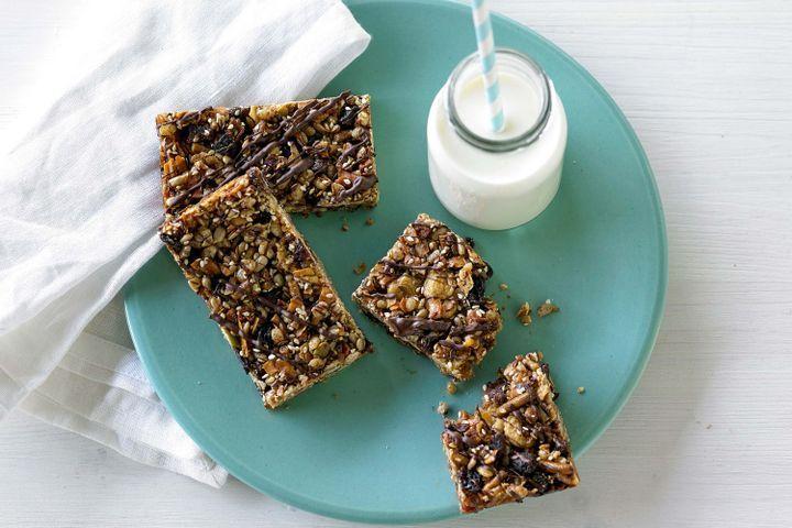 Sesame and dark chocolate gluten-free muesli bars