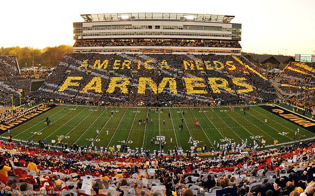 During the 1985 season, Iowa football coach Hayden Fry put the message on the team's helmets to call attention to the plight of the American farmer, where many family farms were having trying times. In a season when the Hawks went 10-1 with a Big Ten Championship and Rose Bowl berth, Fry's use of the increased national exposure to help farmers was received warmly. The initiative continues today with NFL player and former Hawkeye Dallas Clark as the face of the campaign.