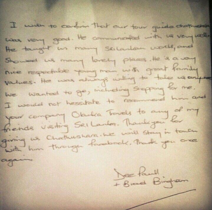 My Australian guest feedback letter for me:)