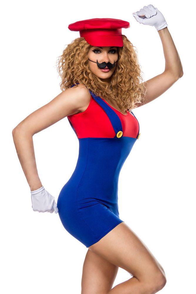 5 Tlg. Super Mario Damen Mädchen SuperMario Kostüm  Karneval Fasching Gr. XS- M