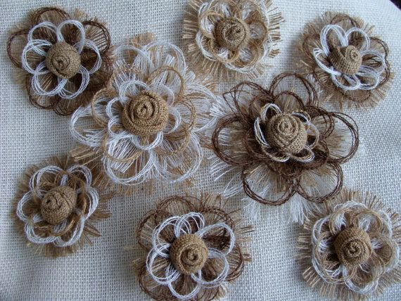 Hey, I found this really awesome Etsy listing at http://www.etsy.com/listing/151832484/southern-wedding-burlap-flower-set-of-8