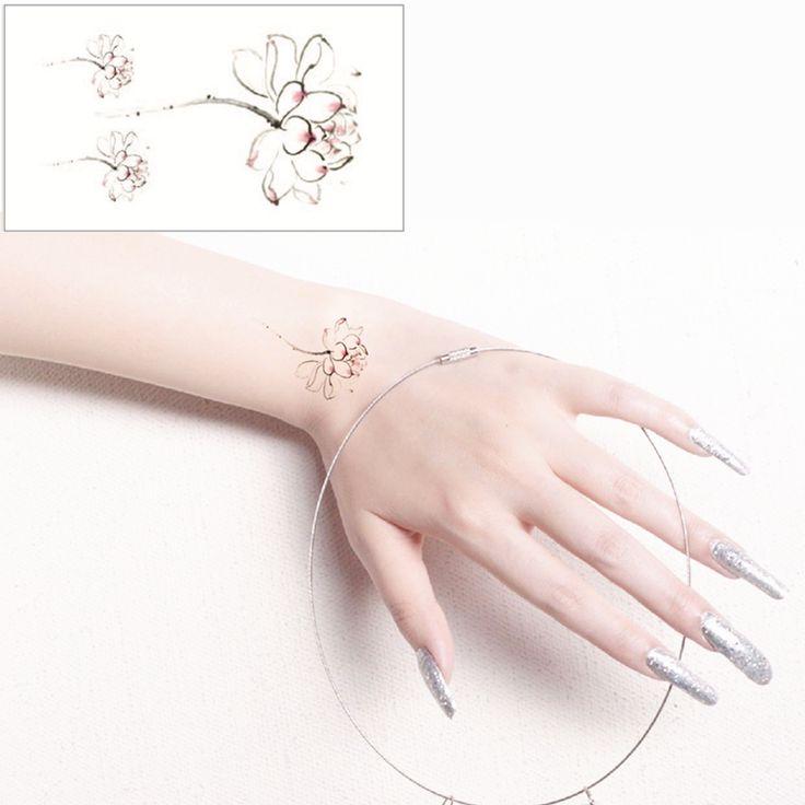 Blanc Lotus Flash Tatouage Main Autocollant 10.5*6 cm Petit Étanche Henné Beauté Temporaire Body Tattoo Autocollant Art LIVRAISON GRATUITE(China (Mainland))