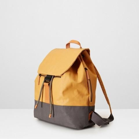 Haye, this is the backpack that closes with a drawstring and shouts a bit louder. Lovely clean metalwork and contrasting coated canvas on the base make it fashi