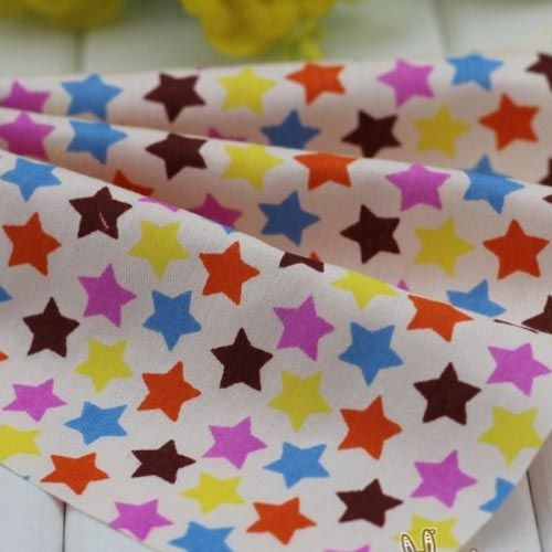 1 м крем красным кофе нью-пятиконечная звезды саржа 100% DIY ткань дети куклы ткани для домашнего декора лоскутное стегальную