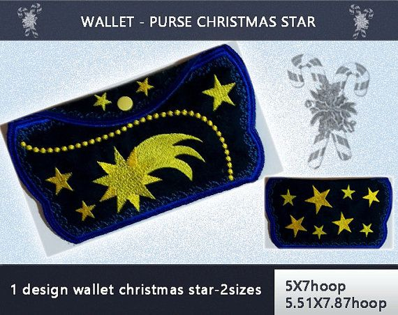 Purse  Wallet No.230  5x7hoop5.51x7.87hoop  by EmbroideryRady