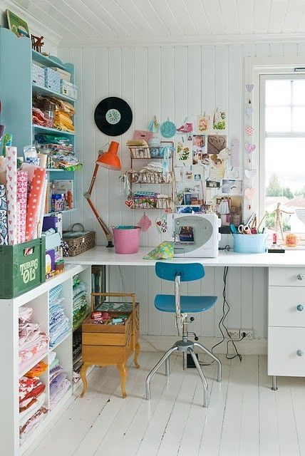 The stool, sewing basket, lamp and shelves... i love it all !!!! sewing space by beryl. Lots of natural light