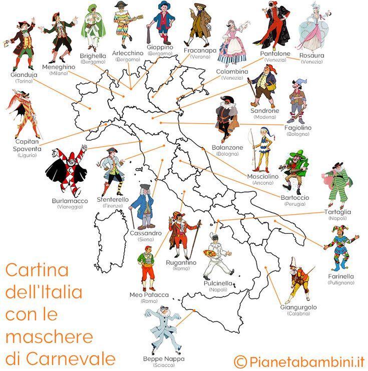 Cartina dell'Italia con le maschere di Carnevale