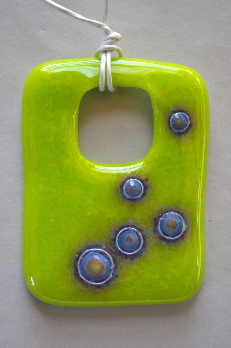 Fused Art Glass Pendant Necklace in Chartreuse, Lime Green, Blue, and Silver Metal - Reactions in Fused Art Glass - Wearable Art. $55.00, via Etsy.