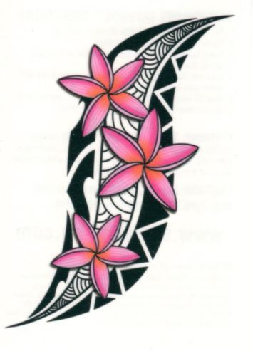 TRIBAL TROPICAL PINK FLOWERS TEMPORARY TATTOO MADE IN USA * WATER BASED * QUICK                                                                                                                                                                                 Más