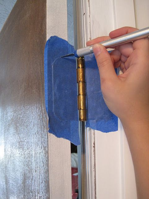How to paint the door...and NOT the hinges. duh, genius!