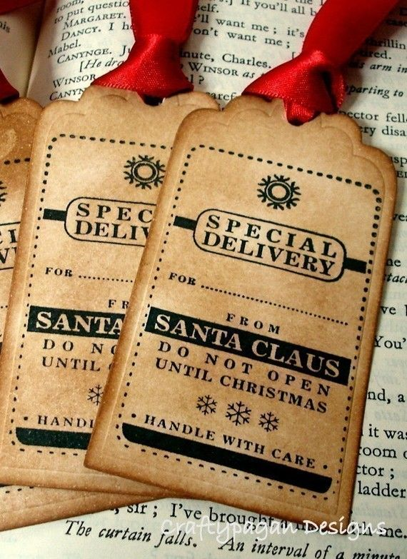 Special Delivery From Santa Claus Christmas Tags from SantaChristmas by craftypagan on Etsy.