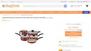 [Shoptime] Jogo de Panelas Tramontina Turim Alumínio 5 Peças Vermelho - de R$ 122,31 por R$ 122,31