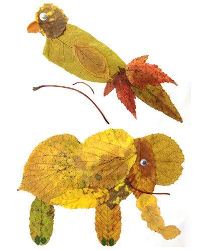 Herbst-Basteln: Laub-Tiere