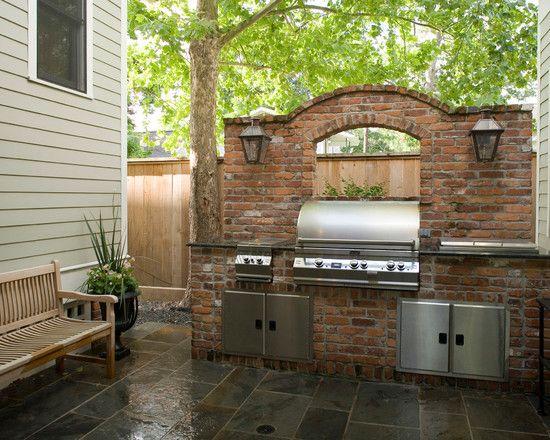 17 best images about brick bbq pit on pinterest for Outdoor kitchen brick design