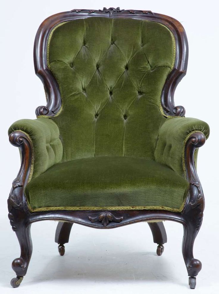 19th Century Victorian Carved Dark Walnut Lounge Chair - 25 Best