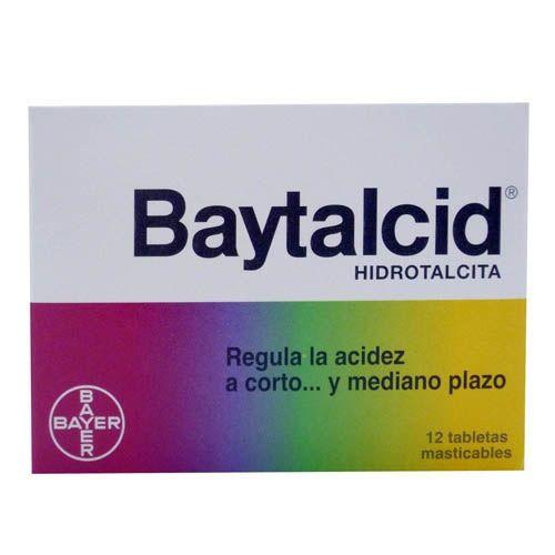 Baytalcid lab: bayer Indicacions: Es un antiácid / Beneficis: Elimina fins l' acidesa mes fort tan sols en dos minuts, protegeix i regenera les parets del estomac ( Dosis: 1-2 tabletas masticables 1-3 h antes de las comidas./  12 tabletas masticables.